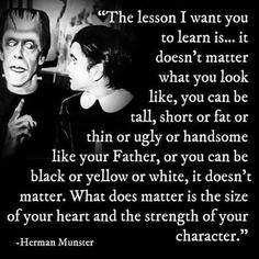The lesson i want you to learn is. It doesnt matter what you look like. What does matter is the size of your heart and the strength of your character You Look Like, I Want You, Things I Want, The Munsters, Great Quotes, Quotes To Live By, Inspirational Quotes, Quirky Quotes, Random Quotes