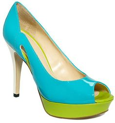 turquoise & lime color block peep toes