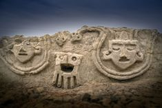 Archaeologists in Peru have uncovered an ancient wall relief dating back to the Caral civilization—the oldest known civilization in the New World. Though whimsical in appearance, these ancient symbols held very serious meaning. Ancient Symbols, Ancient Art, Ancient History, Ancient Peruvian, Monumental Architecture, Blue Green Eyes, Archaeology News, Human Head, Ancient Civilizations
