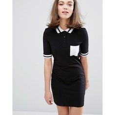 Monki Contrast Turtleneck Dress (820 MXN) ❤ liked on Polyvore featuring dresses, black, turtleneck dress, tall dresses, slim fit dress, turtleneck top and polo neck dress