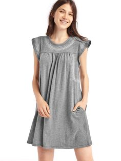 embroidered club jersey swing dress | gap