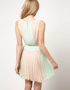 Color Block Pleat Dress by ASOS