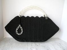 1940s Black Corded Handbag // Large With Twisted White Lucite Handles