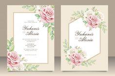 Elegant wedding invitation card with floral bouquet Premium Vector | Premium Vector #Freepik #vector #flower #wedding #watercolor #wedding-invitation