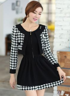 New Autumn Style Two Pieces High Waist Long Sleeve Swallow Gird Dress--Click the picture can place an order, we support wholesale.