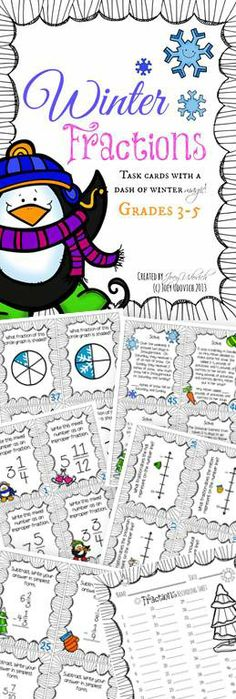 52 winter-themed task cards, covering addition and subtraction of fractions, locating fractions on a number line, improper fractions, mixed numbers, fraction word problems, and more!  Answer key and student recording sheet included for a SUPER low price!  Use this as a center or fun activity for early finishers throughout the winter months. $