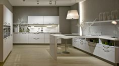 Polar white kitchen worktop and breakfast bar for an all-white kitchen