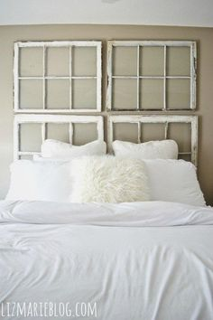 Come see how to make a simple & beautiful antique window headboard