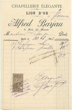 Old receipt from Paris business