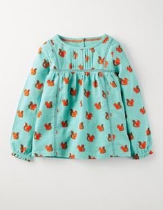 Pastel Turquoise Squirrels Woven Smock Top Boden