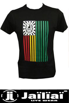 Tee Shirt Flag Conquering Lion Vert Jaune Rouge By Jaïlïaï - L'Underplace