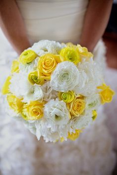 Mostly yellow and white real roses. I want a silver crysatal trim on some flowers