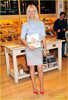 Gwyneth Paltrow :Stella McCartney top, Band of Outsider skirt, and Gianvito Rossi shoes.