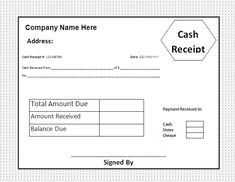 Cash Payment Receipt Template Free  Photography