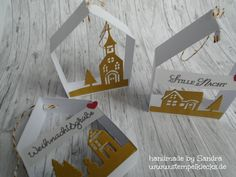 Gift tags - houses - stamping, punching and handicrafts with Stampin 'Up! Valentines Day Decorations, Valentine Day Cards, Christmas Decorations, Stampin Up Christmas, Christmas Crafts, Crafts To Sell, Diy Crafts, Stampin Up Weihnachten, Diy Garland