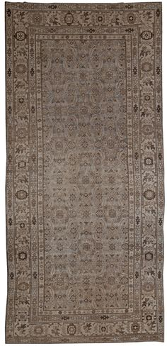 A Persian Malayer Rug BB4886 - by Doris Leslie Blau.  An early 20th century Persian Malayer Wide Runner. An Abstract Floral design within a wide astepped and more geometric border. ...