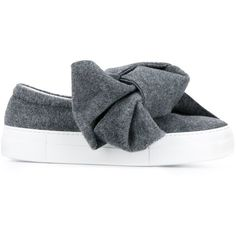 Joshua Sanders Joshua Sanders Bow Detail Slip-On Sneakers ($397) ❤ liked on Polyvore featuring shoes, sneakers, grey slip on sneakers, round cap, grey slip on shoes, gray sneakers and grey shoes