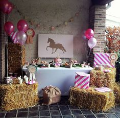 Don't miss this awesome Pony birthday party! The dessert table is fantastic!! Love the haystacks!! See more party ideas and share yours at CatchMyParty.com #pony #rustic #cowgirl #birthdaygifts