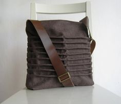 Brown Canvas Pleated Bag with Leather Strap