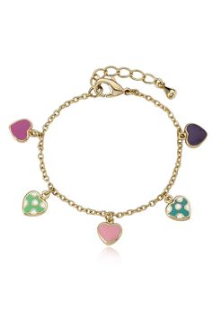 "Little Miss Twin Stars 5.5"" 14k Gold Plated Hearts Charm Bracelet in Multicolor - Beyond the Rack"