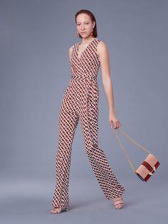 90a81108de Diane von Furstenberg The Terria Silk Jersey Jumpsuit Wrap Jumpsuit, Wrap  Dress, Palm Lines