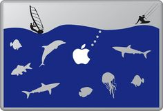 The Life Aquatic 4 | MacBook sticker | #pasteit #sticker #stickers #macbook #apple #blackandwhite #art #drawing #custom #customize #diy #decoration #illustration #design #sea #sealife #underthesea #animals #creatures #sub #sail #sailing #swim #fish #fishes #blue