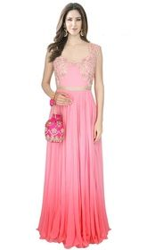 Pink Color Shaded Crepe Silk Embroidered Gown #floorlengthanarkaligown #indiangowns Cast a spell over your onlookers in this pink color shaded crepe silk embroidered gown. You could see some intriguing patterns completed with resham work.  USD $ 281 (Around £ 194 & Euro 214)
