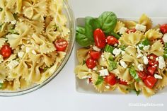 Feta, Basil, Tomato and Bowtie Pasta Salad Recipe. Looking for a totally fresh, and tasty pasta salad dish to bring to your next cookout? You MUST try this one!