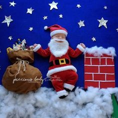 Newborn boy dressed as Santa on the roof top by chimney with a bag of toys. Baby ImaginArt baby scene Christmas Precious Baby Photography Angela Forker unique Fort Wayne New Haven Indiana funny hilarious Funny Baby Photos, Monthly Baby Photos, Baby Boy Pictures, Newborn Baby Photos, Baby Boy Newborn, Sports Pictures, Funny Images, Funny Pics, Funny Jokes
