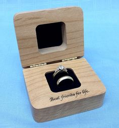 Wedding ring box, engagement ring box, wooden ring box, personalized ring box, wedding ring box holder Wedding Ring BoxEngagement Ring BoxWooden from NorthIowaEngraving Wooden Ring Box, Wooden Jewelry Boxes, Personalized Rings, Personalised Box, Personalized Wedding, Titanium Wedding Rings, 3d Laser, Wedding Ring Box, Wood Rings