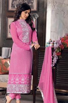 Royal look of Pink and Silver work with Designer Neck style...