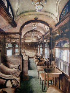 The Buffet-Smoking Car, circa 1905, of the Los Angeles Limited, a train that traveled back and forth from Chicago to Los Angeles. (Bizarre Los Angeles)