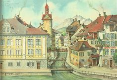 "Corporations Building (or Sonnenberghaus) by Ulrich Gutersohn. Wikimedia The painting ""Corporations Building (or Sonnenberghaus)"" b. Wikimedia Commons, Building, Pictures, Painting, Art, Lucerne, Oder, Photos, Art Background"