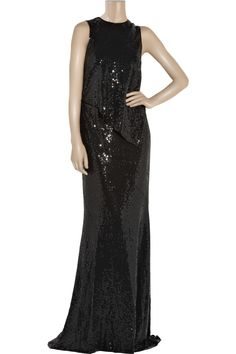 Michael Kors black sequined petal red carpet evening gown, my Oscar gown pick for Sunday evening!