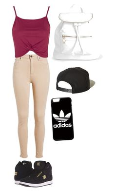 """Street style"" by ilovesmacaroons on Polyvore featuring Topshop, DC Shoes, Boohoo, Brixton and adidas"