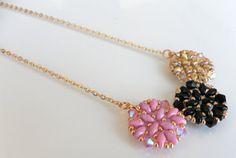 romantic jewel Pink Black Beige Beadweaving handmade Necklace by lizaluksenberg, $38.00