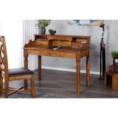 HANOI - sekretär i massivt sheesham-trä, ett genuint hantverk Home Office, Office Desk, Office Setup, Work Desk, Makassar, Wooden Study Table, Hygge Home, Writing Table, Kare Design
