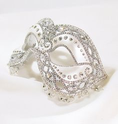 Masquerade Ball Mask White Silver and by BejeweledMasquerade
