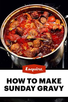 Large Family Sunday Gravy - The best italian pasta sauce ever. It literally takes all day to make. Serve it on your favorite pasta. Pasta Sauce Recipes, Meat Recipes, Dinner Recipes, Cooking Recipes, Pasta Sauces, Spaghetti Recipes, Recipies, Italian Pasta, Italian Dishes