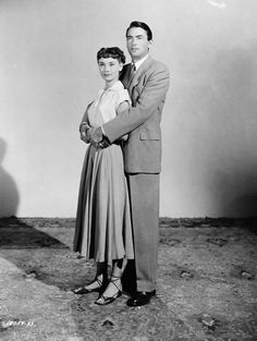 Publicity photo of Audrey Hepburn and Gregory Peck for Roman Holiday, 1953.