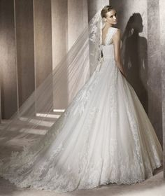 Ball Gown Square Long Organza Wedding Dress