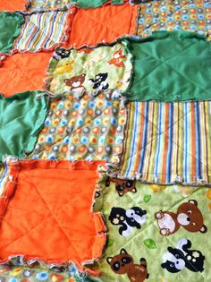 Green FOREST ANIMAL Rag Quilt by karriehetz on Etsy, $20.00