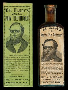 "This full-label, full contents bottle and its box were found in the store display box shown above. The bottle also has paper labels on each side panel: one headed ""Applied Externally, Cures"" the other headed ""Taken Internally, Cures"". The back of the bottle is embossed P.C. Hardy"