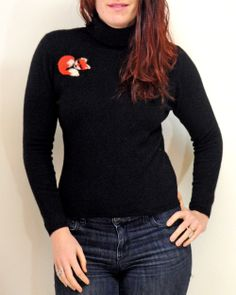 Love this black #cashmere turtle neck for the cool winter months. Perfect for a holiday gift idea!