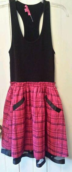 BETSEY JOHNSON Plaid GRUNGE Throwback VIBE Satin/Cotton Crinoline Tank Dress NEW #BetseyJohnson #fitnflare #Clubwear