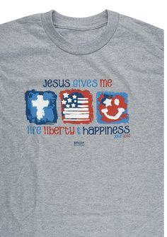 "[""This heather grey short sleeved youth tee features a cute and patriotic design. The three images across the front feature a cross, American flag and smiley face and the Scripture reads, \""Jesus gives me Life, Liberty  Happiness.\"" - John 10:10<\/i> Your little one will look adorable waving a flag parade-side in this kids' t-shirt!Made of 100% cotton.Washing Instructions:<\/b> Wash inside out on warm\/cold. Do not iron. ""] $13.99"
