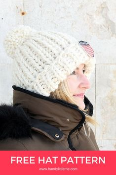 Make the Chloe hat knitting pattern with this easy in the style of Olympic snowboarder Chloe Kim! The snow beanie pattern is easy for beginners. hat pattern free chunky The Chloe Hat Pattern {Olympic Hat} Knit Hat Pattern Easy, Easy Knit Hat, Free Knitting Patterns For Women, Beanie Pattern Free, Chunky Knitting Patterns, Knitting For Beginners, Knitted Hats, Start Knitting, Free Pattern