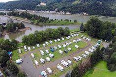 Wohnmobilhafen am Kränchen in Lahnstein bij Koblenz Motorhome Conversions, Motorhome Interior, Rhineland Palatinate, Campervan, Campsite, Places To Go, Dolores Park, Road Trip, Tips
