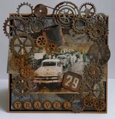Noor! Design Gears Birthday Cards For Men, Man Birthday, Altered Images, Altered Art, Steampunk Cards, Mixed Media Collage, Masculine Cards, Card Tags, Vintage Cards