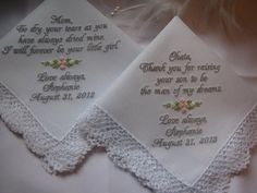 Two Custom Personalized Wedding Handkerchiefs for by mollyandmom, $52.00
